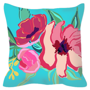 Turquoise Flora & Ticking Decorative Outdoor Pillows - Artski&Hush