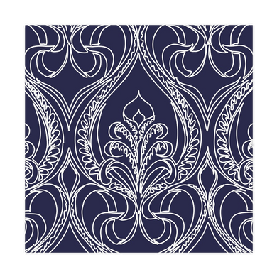 Art Deco Navy Lily Cloth Napkins - Artski&Hush
