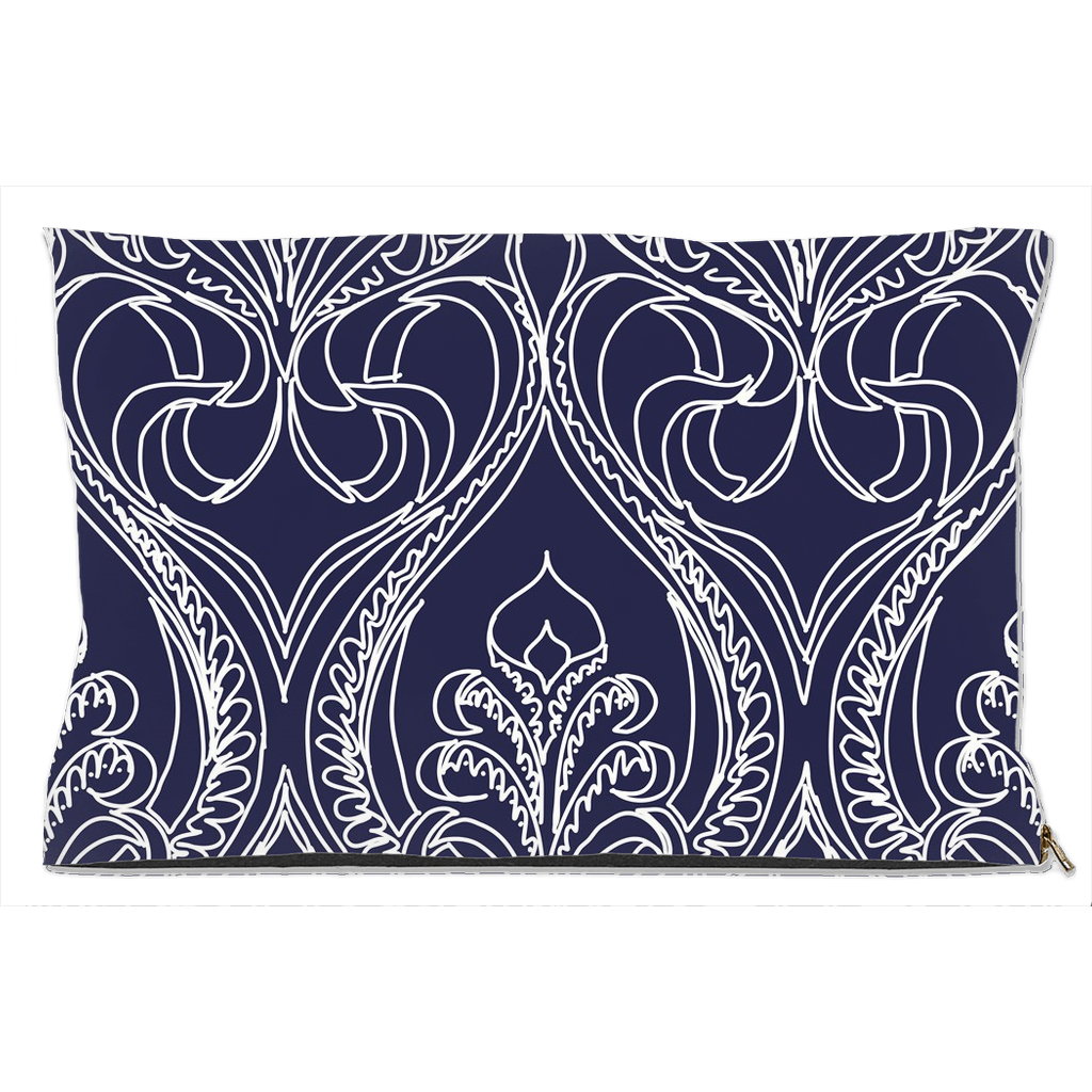 Art Deco Navy Lily Dog Beds