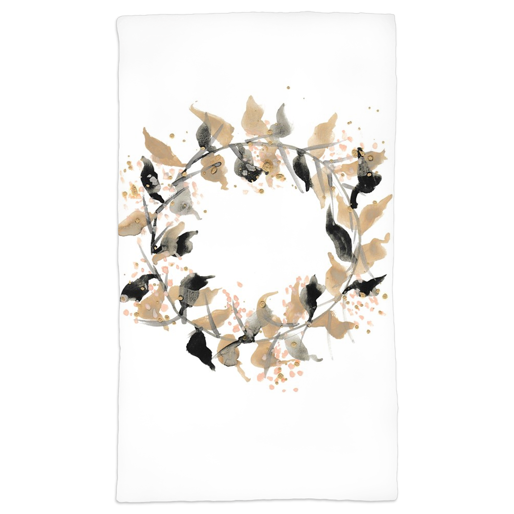 Watercolor Speckled Wreath Hand Towels