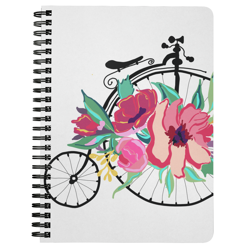 Flora Bicycle Spiral Notebook in Lt. Pink - Artski&Hush