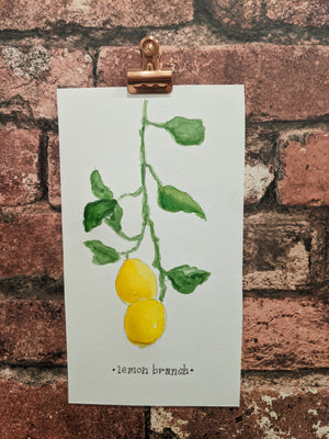 Lemon Branch Watercolor Card