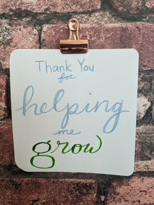Thank You for Helping Me Grow Watercolor Card