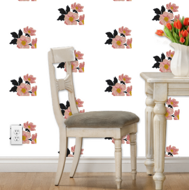 White Flora Wallpaper - Artski&Hush
