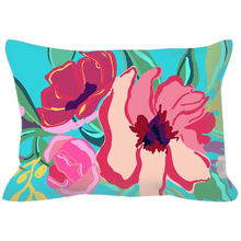 Load image into Gallery viewer, Turquoise Flora & Ticking Decorative Outdoor Pillows - Artski&Hush