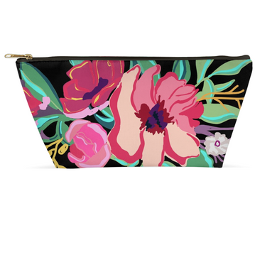 Black Flora Accessory Pouches - Artski&Hush