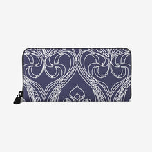 Load image into Gallery viewer, Art Deco Navy Lily Leather Wallet - Artski&Hush