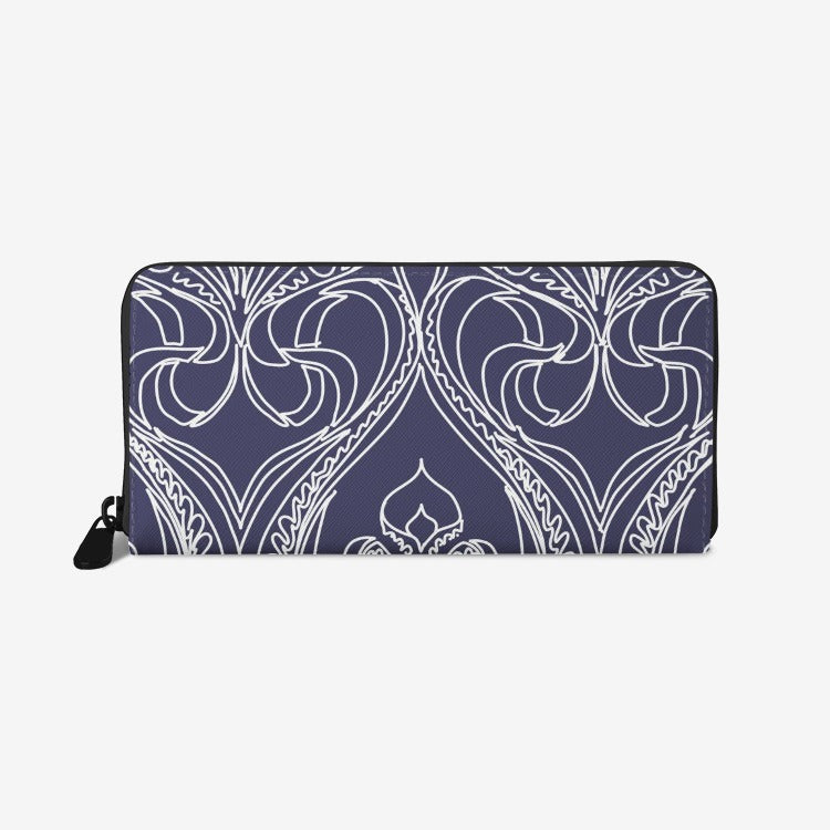 Art Deco Navy Lily Leather Wallet - Artski&Hush
