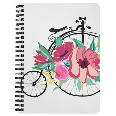 Flora Bicycle Spiral Notebook in Raspberry - Artski&Hush