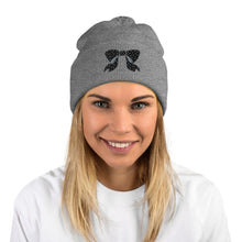 Load image into Gallery viewer, Polka Dot Bow Pom-Pom Beanie