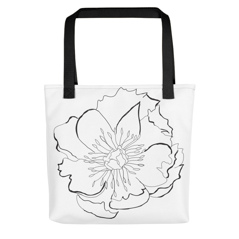Large B&W Flora Toting Bag