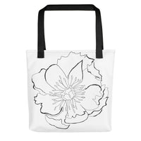 Large B&W Flora Tote bag