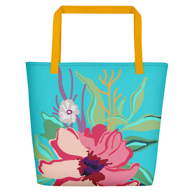 Turquoise Flora Toting Beach Bag - Artski&Hush