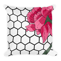 Hex Flora Throw Pillows