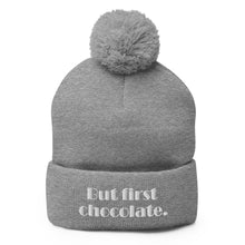Load image into Gallery viewer, But First Chocolate Pom-Pom Beanie