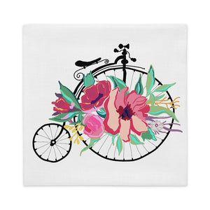 Flora Bicycle Square Throw Pillow Cover - Artski&Hush