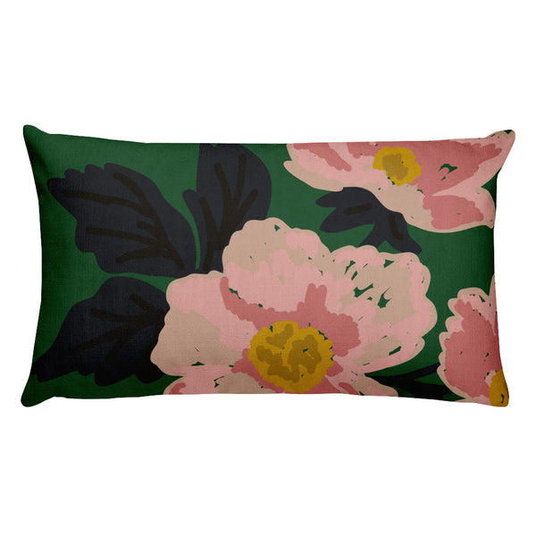 Green Flora Throw Pillow