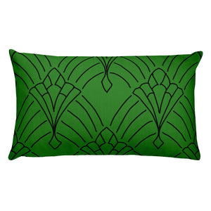 Art Deco Peaks Green Decorative Throw Pillow - Artski&Hush