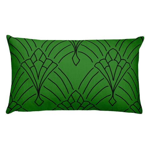 Art Deco Peaks Green Throw Pillow