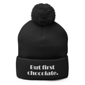 But First Chocolate Pom-Pom Beanie