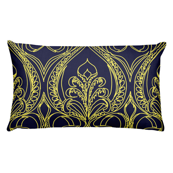Navy Art Deco Lily Throw Pillows