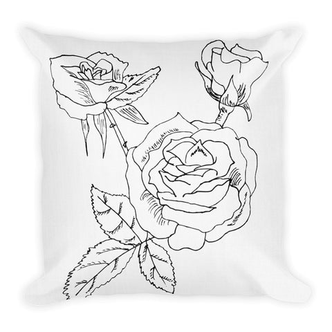Tufted B & W Rose Throw Pillow