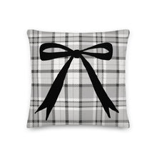Load image into Gallery viewer, Grey Plaid Long Bow Decorative Pillow - Artski&Hush