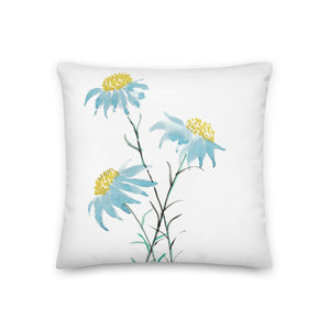 Blue Daisy Watercolor Decorative Throw Pillows - Artski&Hush