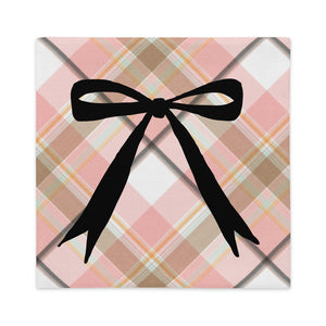 Pink Plaid Long Bow Decorative Pillow Cover - Artski&Hush