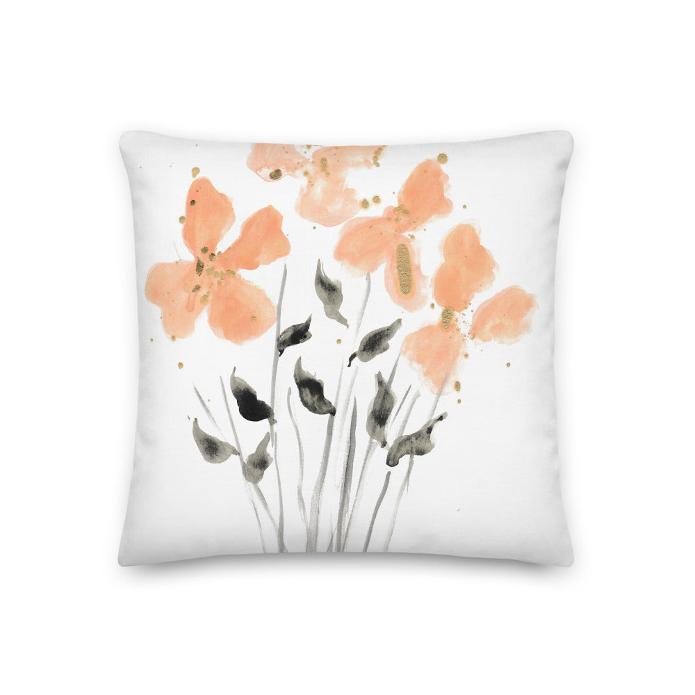 Golden Peach Watercolor Throw Pillow
