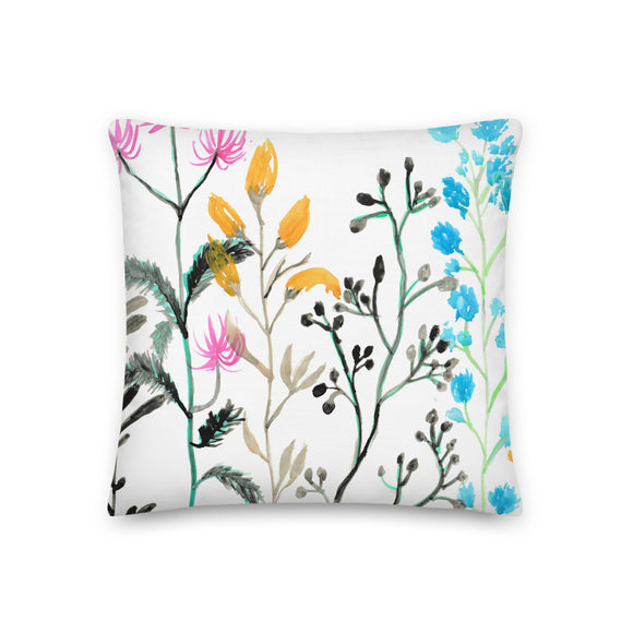 Floral Medley Watercolor Throw Pillows