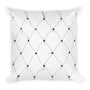 Tufted B & W Rose Decorative Throw Pillow - Artski&Hush