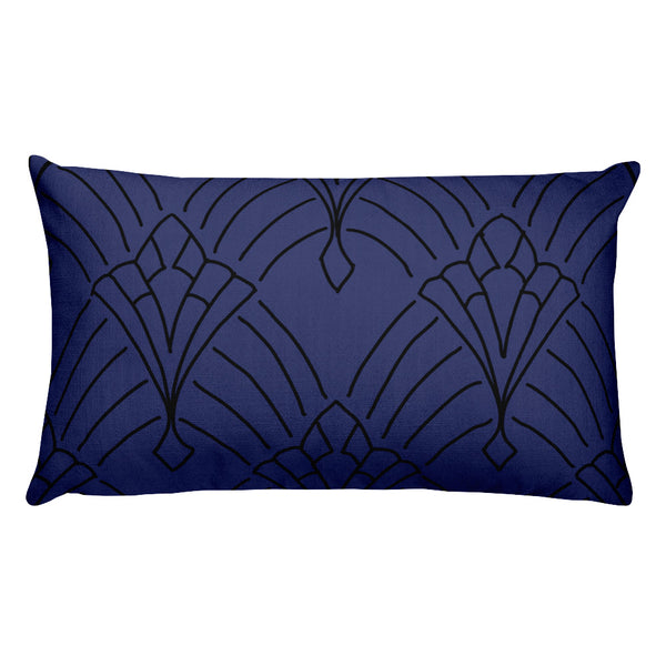 Art Deco Peaks Navy Throw Pillow