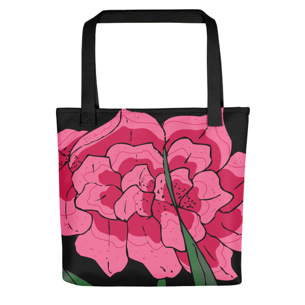 Black Flora Tote  Bag