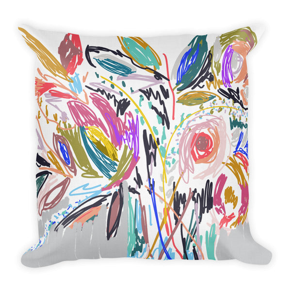 Messy Flora Throw Pillow