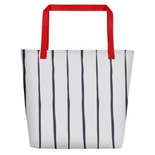 Load image into Gallery viewer, Navy Ticking Beach Toting Bag - Artski&Hush