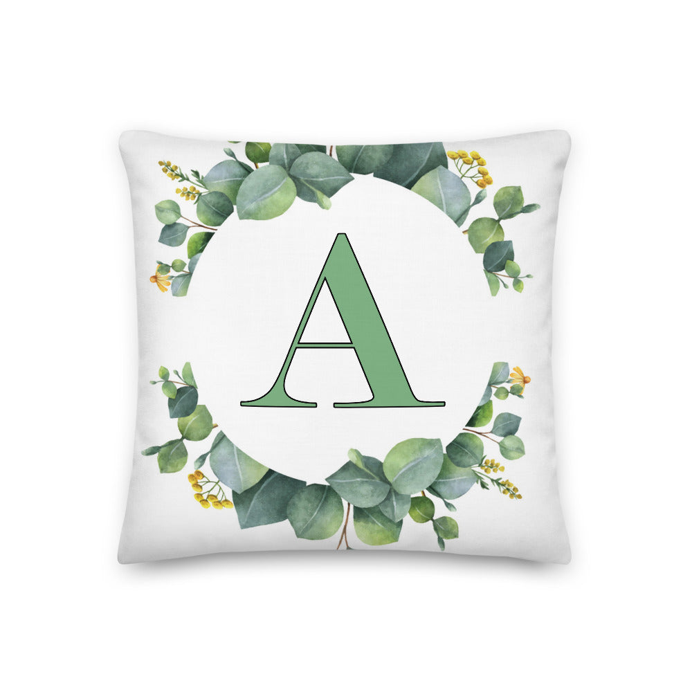 """A"" Monogrammed Eucalyptus Throw Pillow"