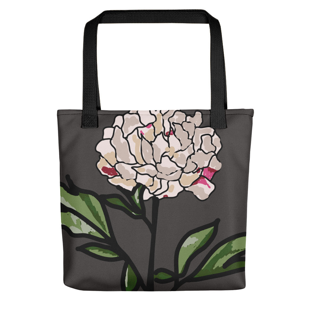 Grey Peony Toting Bag