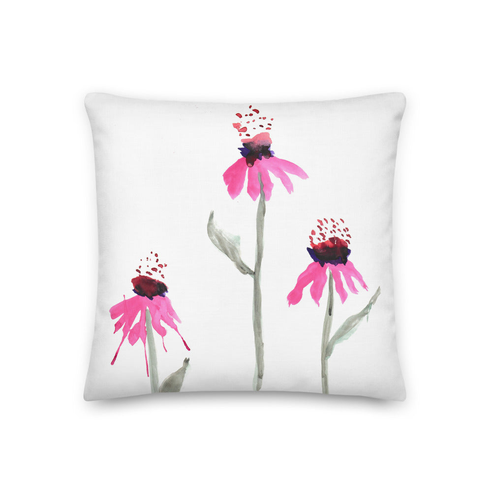 Echinacea Watercolor Throw Pillows