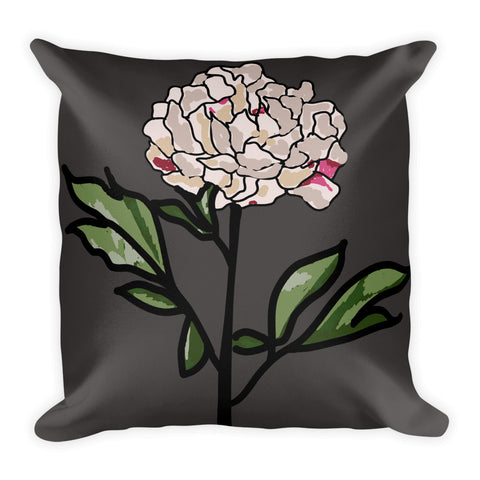 Grey Peony Throw Pillows
