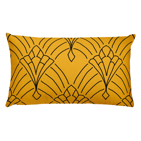 Art Deco Peaks Gold Throw Pillow