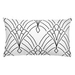 Art Deco Peaks White Throw Pillow
