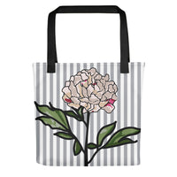 Gray Striped Pink Flora Tote Bag