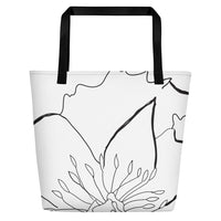 Large B&W Flora Beach Tote