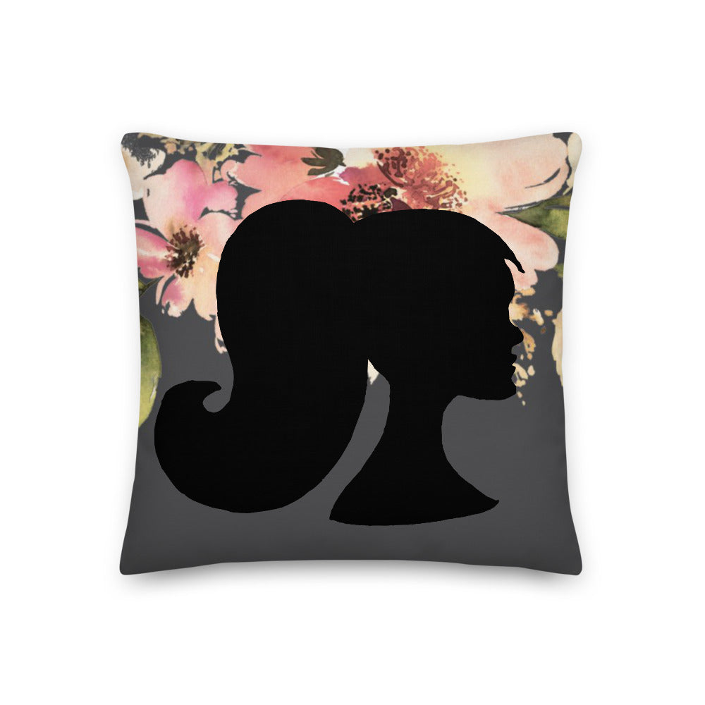 A&H Floral Profile Throw Pillow