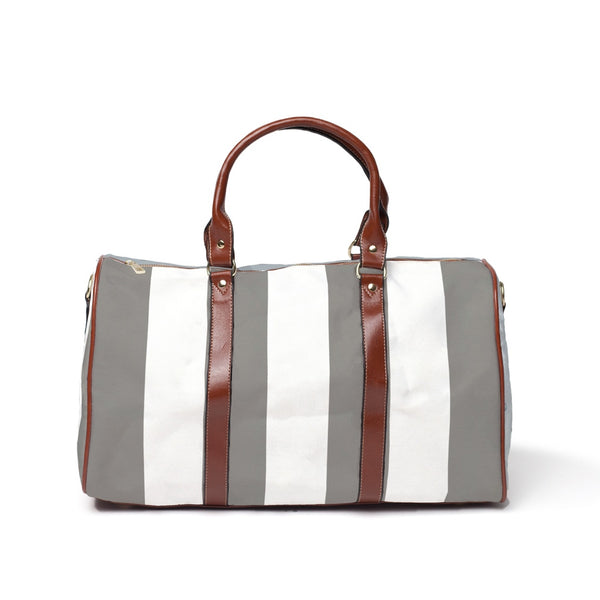 Grey Striped Travel Bags
