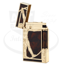Load image into Gallery viewer, ST Dupont Ligne 2 Prestige Vitruvian Man Lighter Open