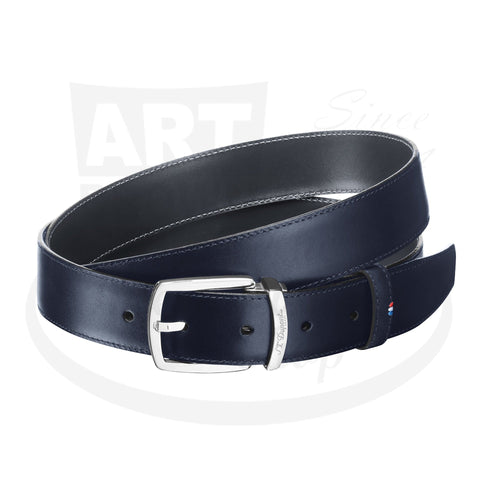 ST Dupont Palladium and Line D Leather Navy Blue Euro Belt