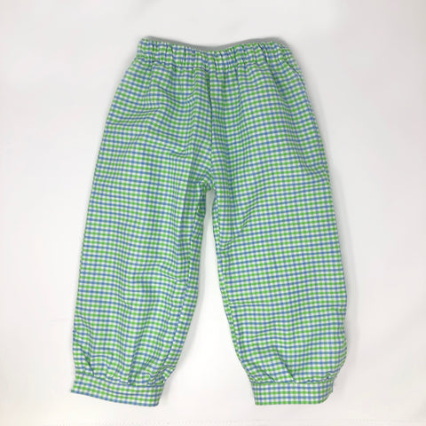 Tri-Check Gingham Boy Fabric Banded Pants
