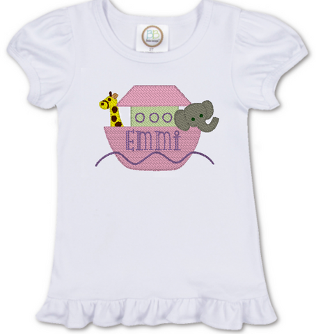 Girl Boat with Animals Shirt
